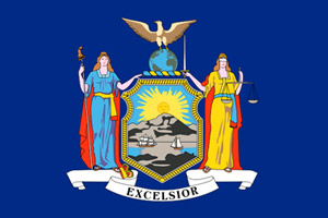 New York flag showing that defensive driving course is approved by the NY DMV for insurance discount and point reduction